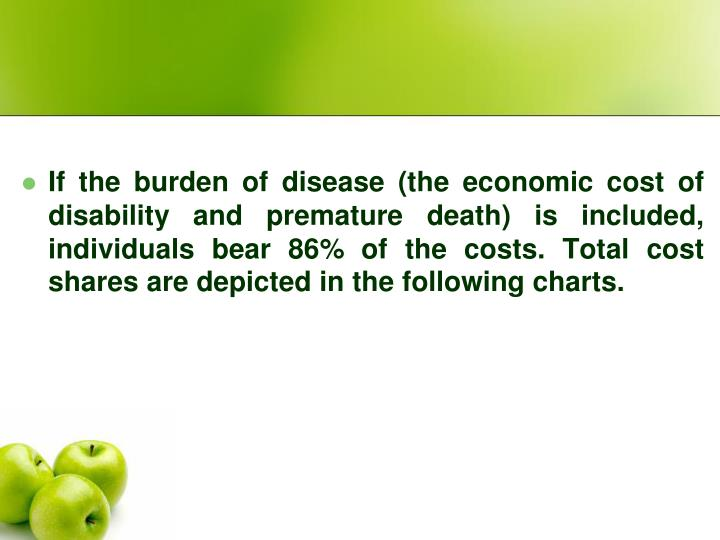 If the burden of disease (the economic cost of disability and premature death) is included, individuals bear 86% of the costs. Total cost shares are depicted in the following charts.