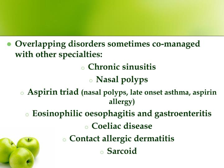 Overlapping disorders sometimes co-managed with other specialties: