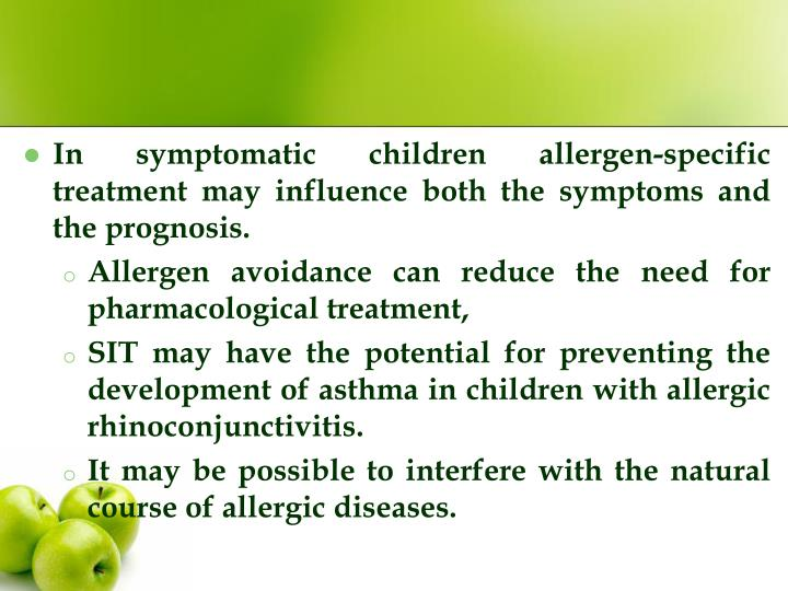In symptomatic children allergen-specific treatment may influence both the symptoms and the prognosis.