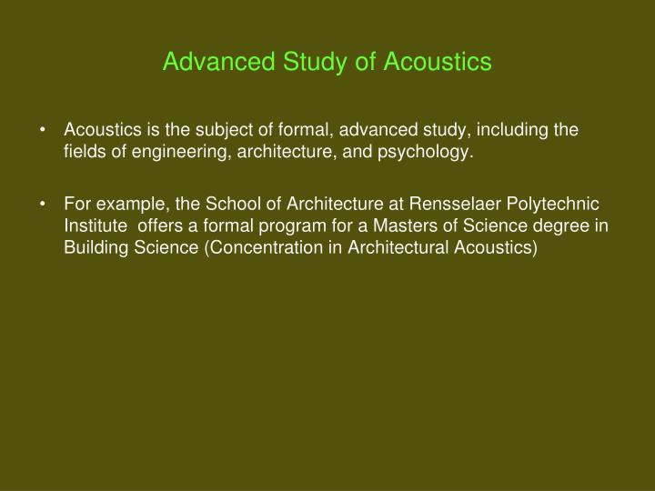 acoustics presentation The first part of this presentation introduces the goals of acoustic design, describes methods of noise control and demonstrates how interior design elements can.