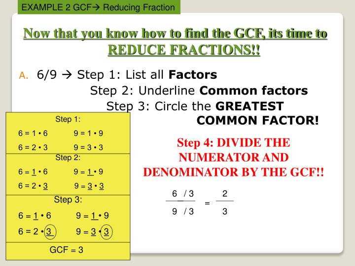 Now that you know how to find the GCF, its time to REDUCE FRACTIONS!!