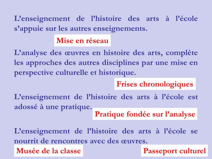 Lenseignement de lhistoire des arts  lcole sappuie sur les autres enseignements.