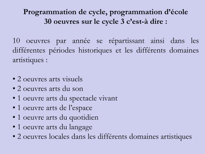 Programmation de cycle, programmation dcole
