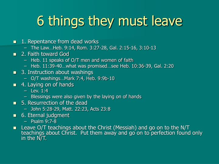 6 things they must leave
