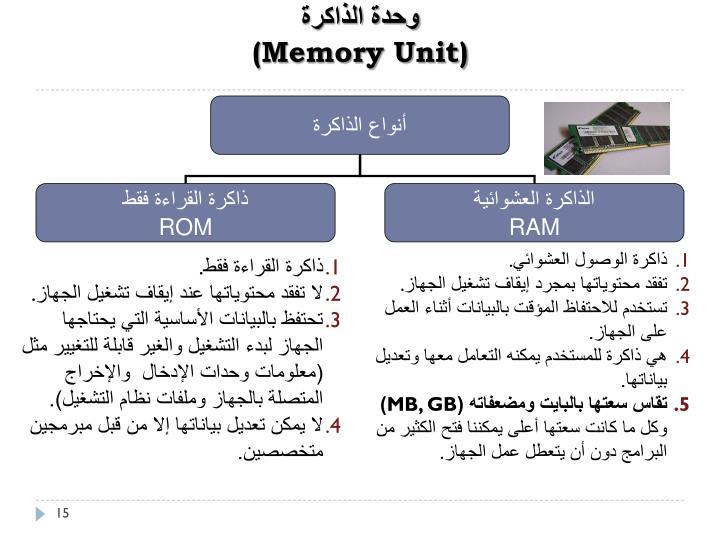 أنواع الذاكرة