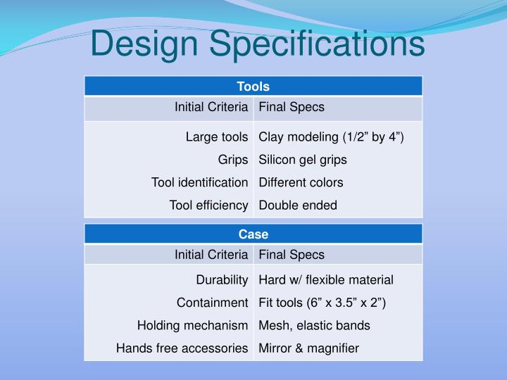 Design Specifications