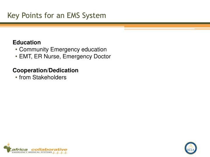 Key Points for an EMS System