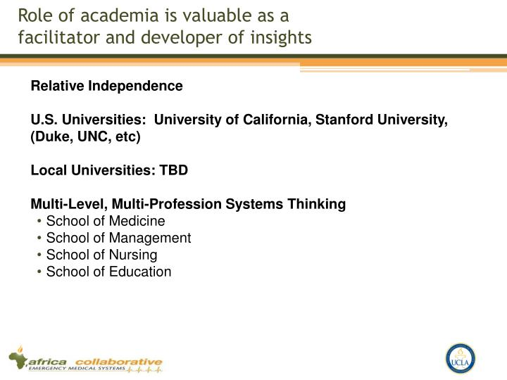 Role of academia is valuable as a