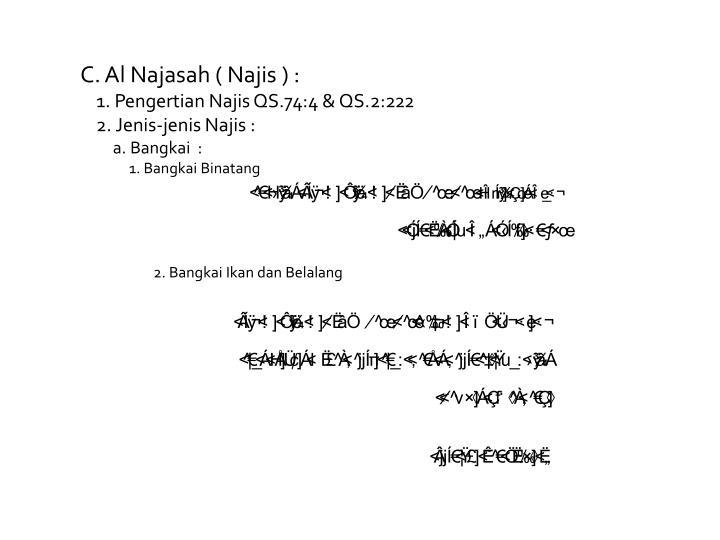 C. Al Najasah ( Najis ) :