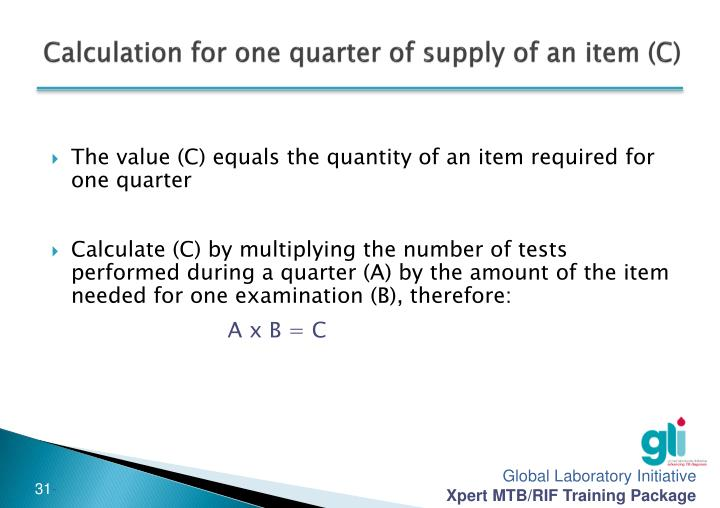 Calculation for one quarter of supply