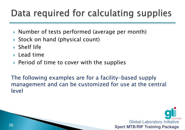 Data required for calculating supplies