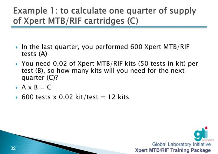 Example 1: to calculate one quarter of supply