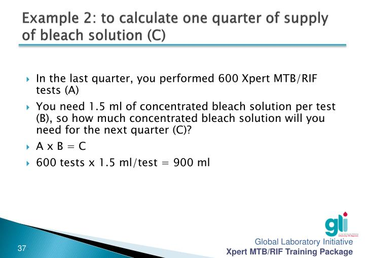 Example 2: to calculate one quarter of supply