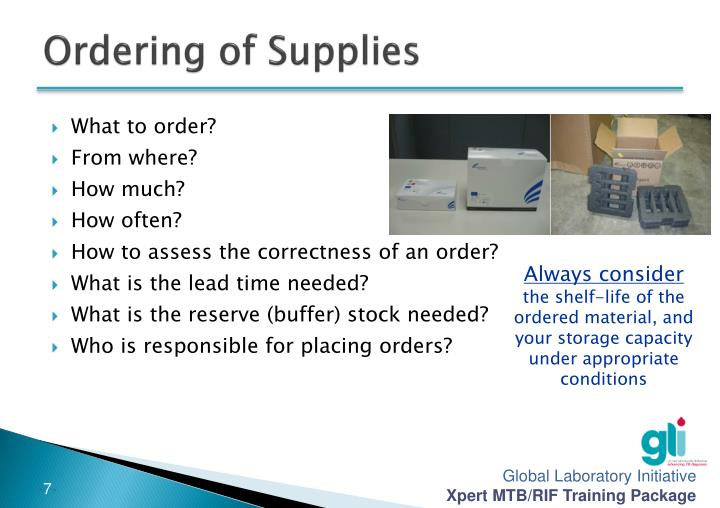 Ordering of Supplies