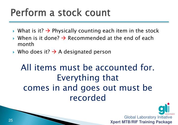 Perform a stock count