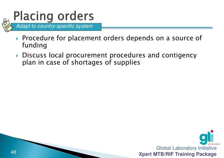 Placing orders