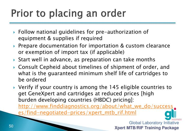 Prior to placing an order