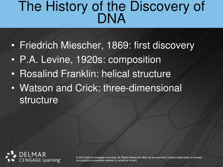 The History of the Discovery of DNA
