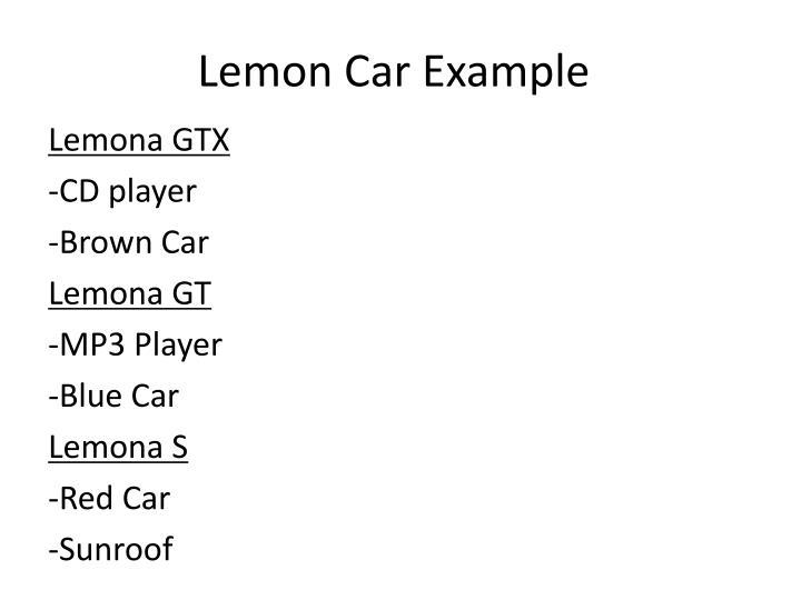 Lemon Car Example