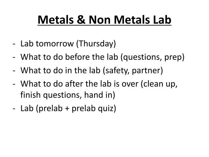 Metals & Non Metals Lab