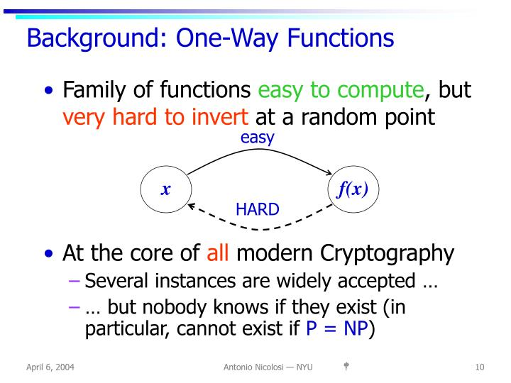 Background: One-Way Functions