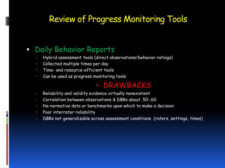 Review of Progress Monitoring Tools