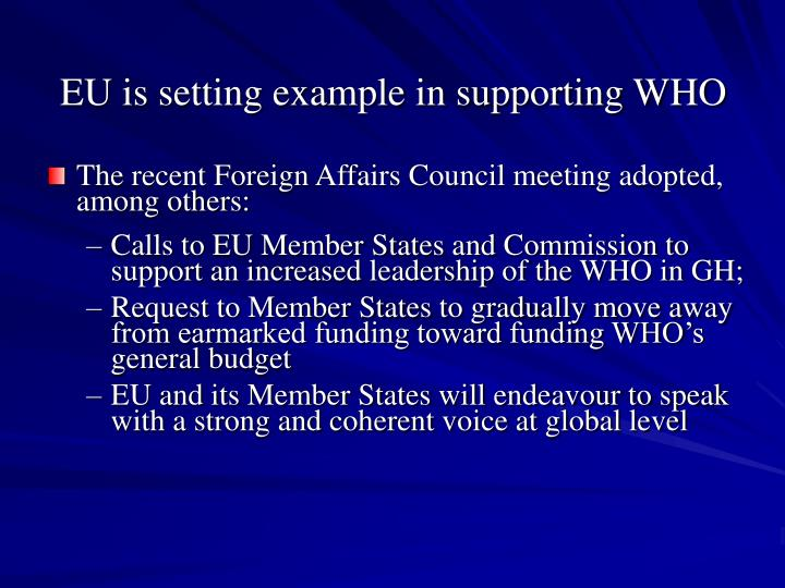 EU is setting example in supporting WHO