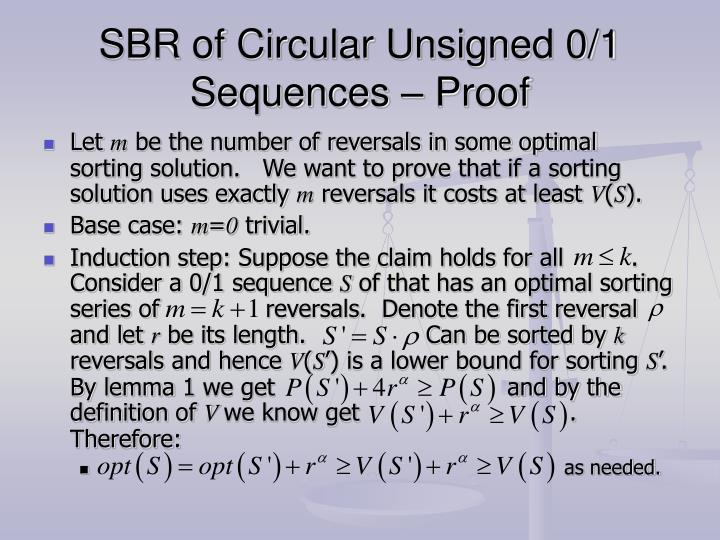 SBR of Circular Unsigned 0/1 Sequences – Proof
