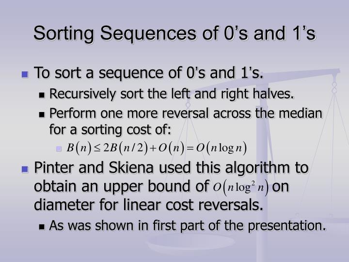 Sorting Sequences of 0's and 1's