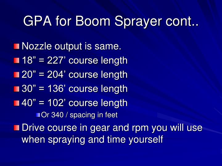 GPA for Boom Sprayer cont..