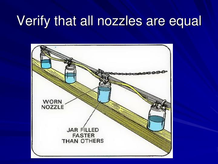 Verify that all nozzles are equal