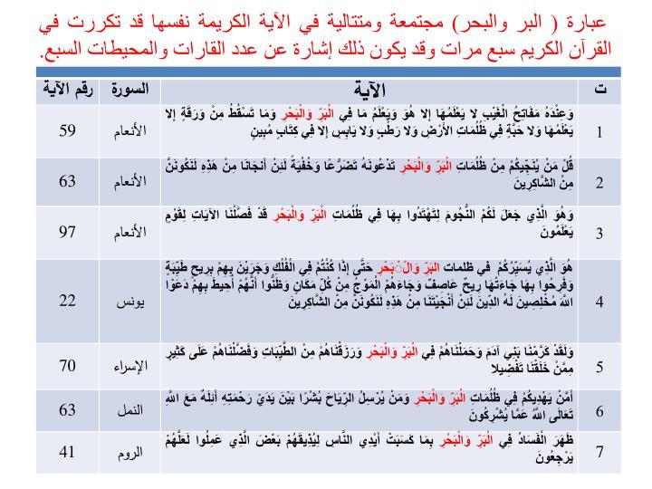 عبارة ( البر والبحر) مجتمعة ومتتالية في الآية الكريمة نفسها قد تكررت في القرآن الكريم سبع مرات وقد يكون ذلك إشارة عن عدد القارات والمحيطات السبع.
