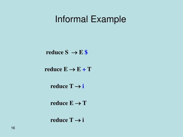 Informal Example