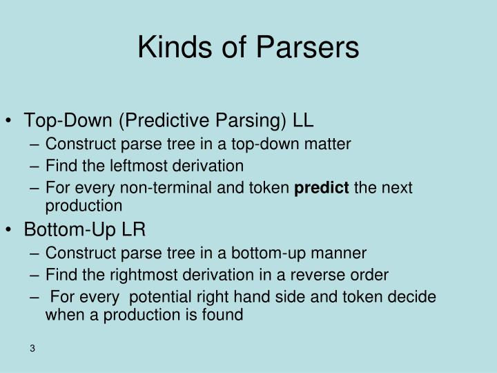 Kinds of parsers