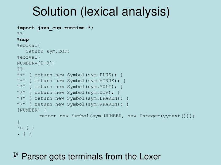 Solution (lexical analysis)
