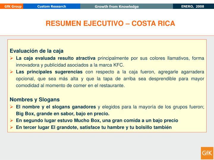 RESUMEN EJECUTIVO – COSTA RICA