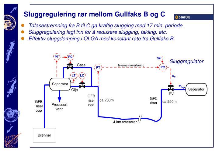 Sluggregulering rør mellom Gullfaks B og C
