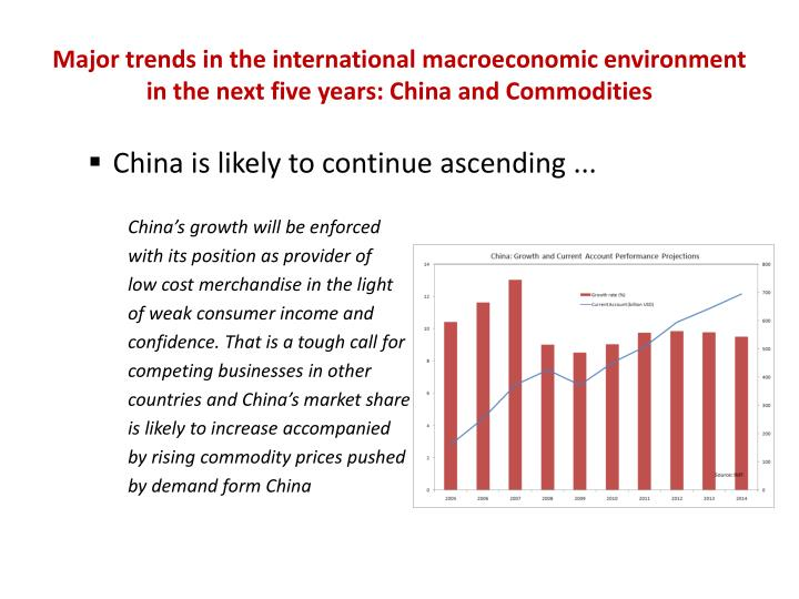 Major trends in the international macroeconomic environment in the next five years: China and Commodities