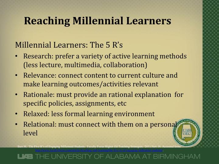Reaching Millennial Learners