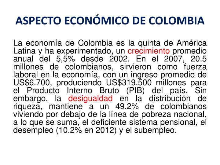 ASPECTO ECONÓMICO DE COLOMBIA