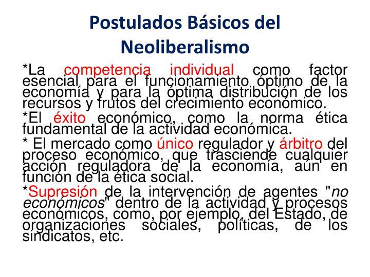Postulados Básicos del Neoliberalismo