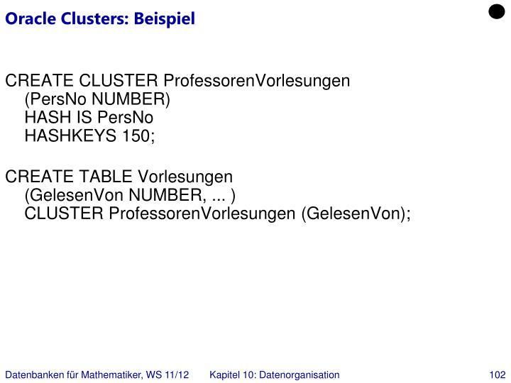 Oracle Clusters: Beispiel