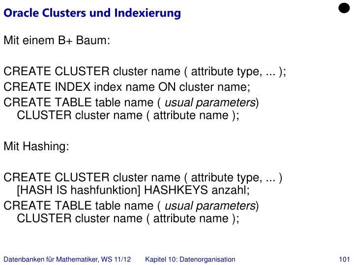 Oracle Clusters und Indexierung