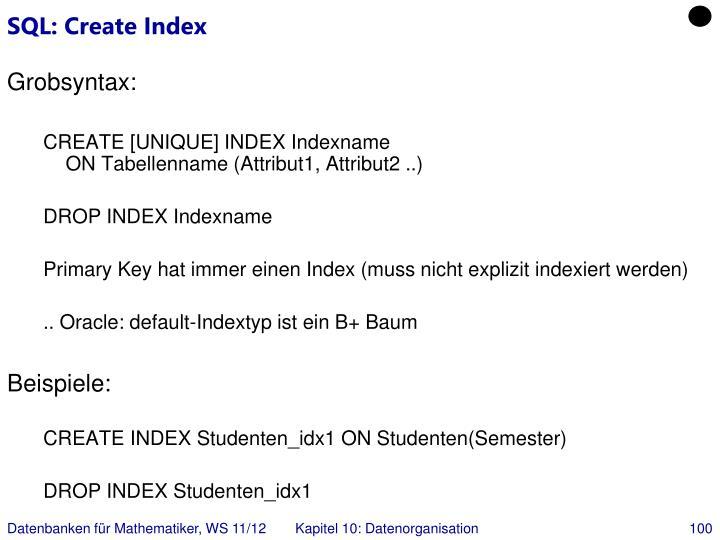 SQL: Create Index