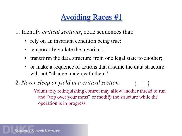 Avoiding Races #1