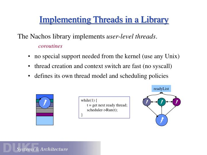 Implementing threads in a library