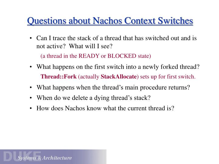 Questions about Nachos Context Switches