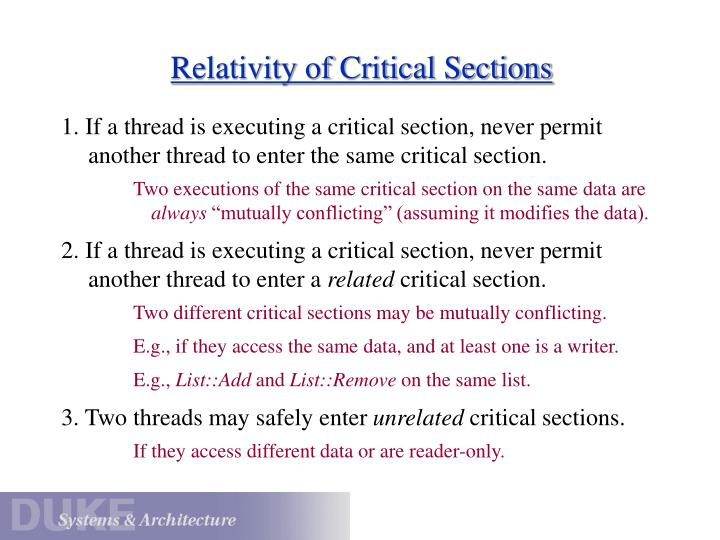 Relativity of Critical Sections