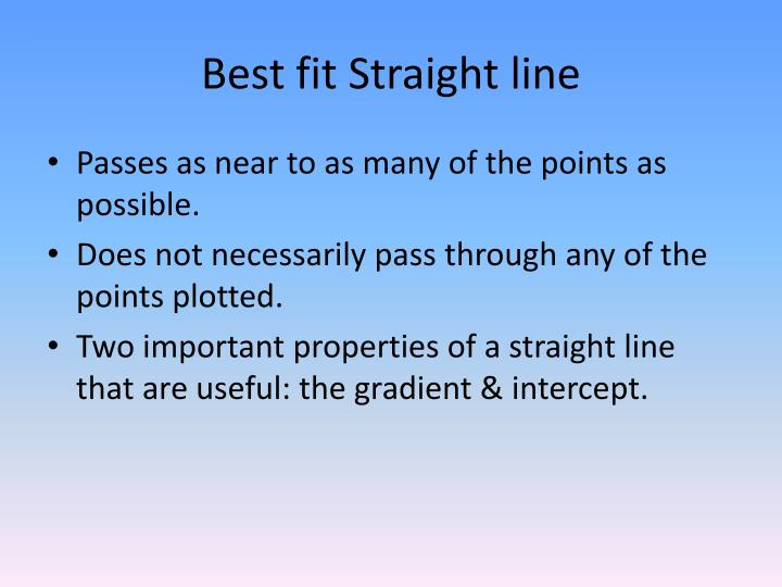 Best fit Straight line