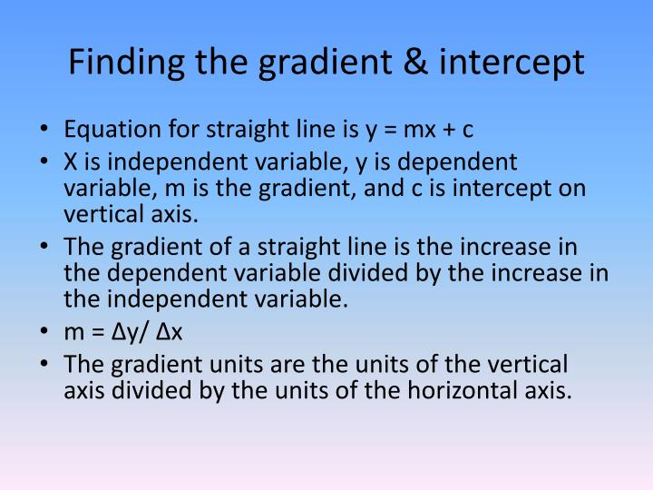 Finding the gradient & intercept